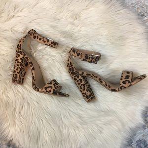 Leopard Ankle Strap Block Heel Sandal Wide Width
